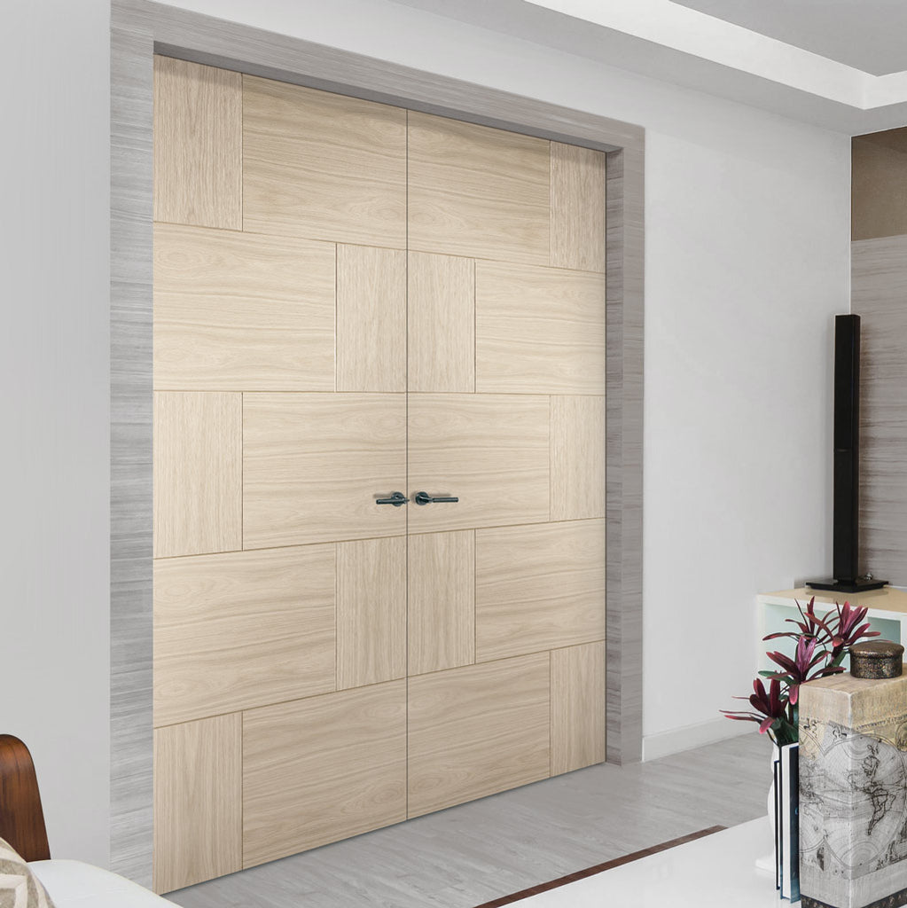 Prefinished Ravenna Oak Flush Door Pair - Choose Your Colour