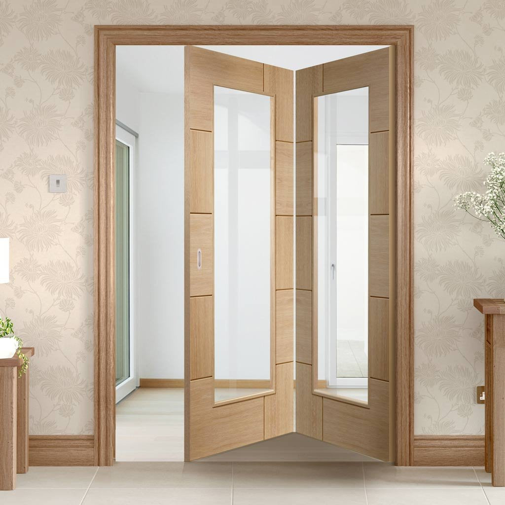 Bespoke Thrufold Ravenna Oak Glazed Folding 2+0 Door - Prefinished