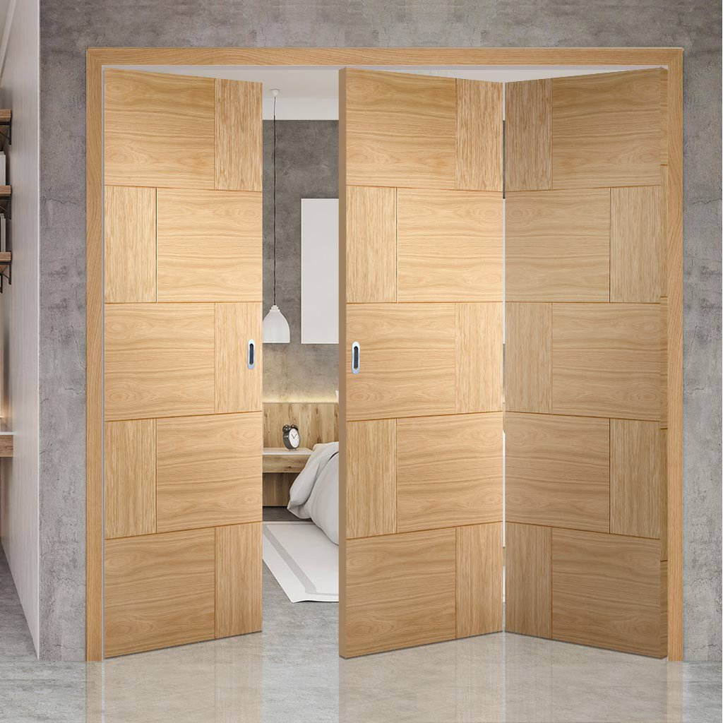 Three Folding Doors & Frame Kit - Ravenna Oak Flush 2+1 - Prefinished