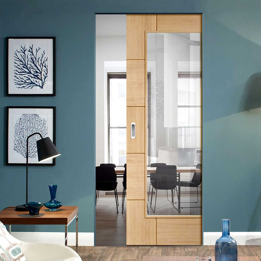 Ravenna Oak Absolute Evokit Pocket Door - Clear Glass - Prefinished