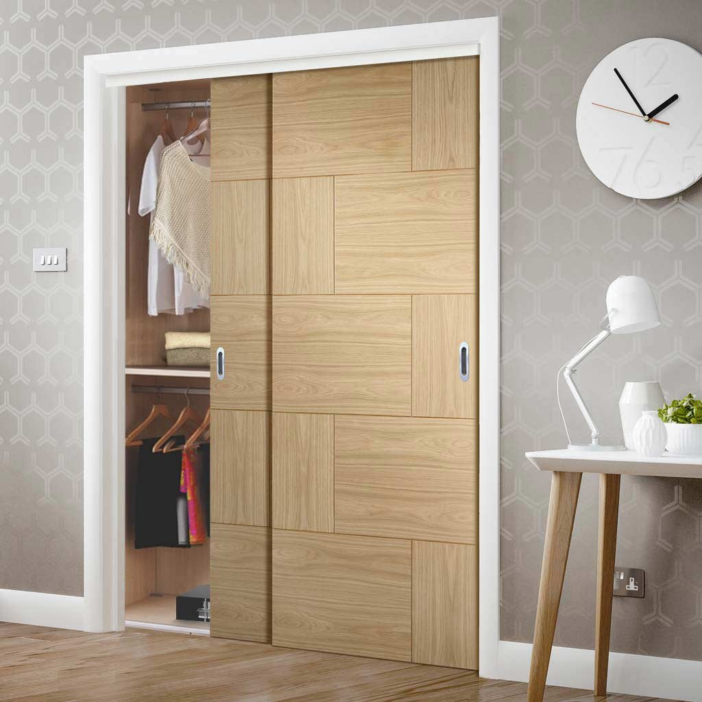 Bespoke Thruslide Ravenna Oak Flush 2 Door Wardrobe and Frame Kit