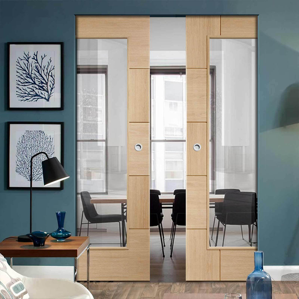 Bespoke Ravenna Oak Glazed Double Frameless Pocket Door - Prefinished