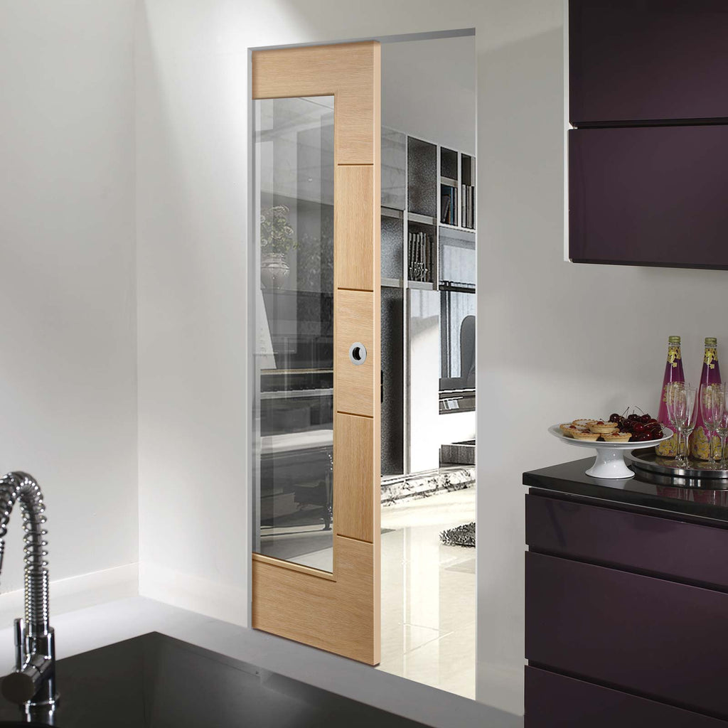 Ravenna Oak Absolute Evokit Pocket Door - Clear Glass