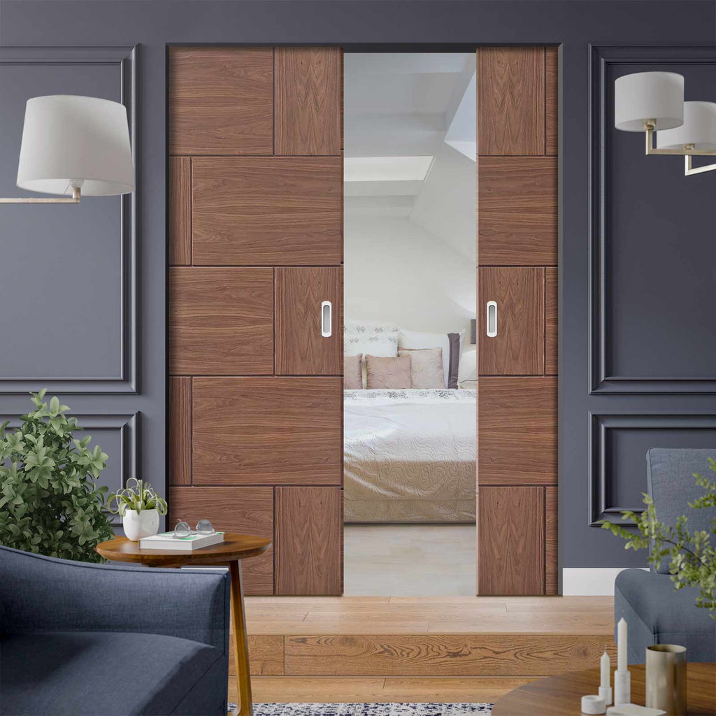 Ravenna Walnut Flush Absolute Evokit Double Pocket Door - Prefinished