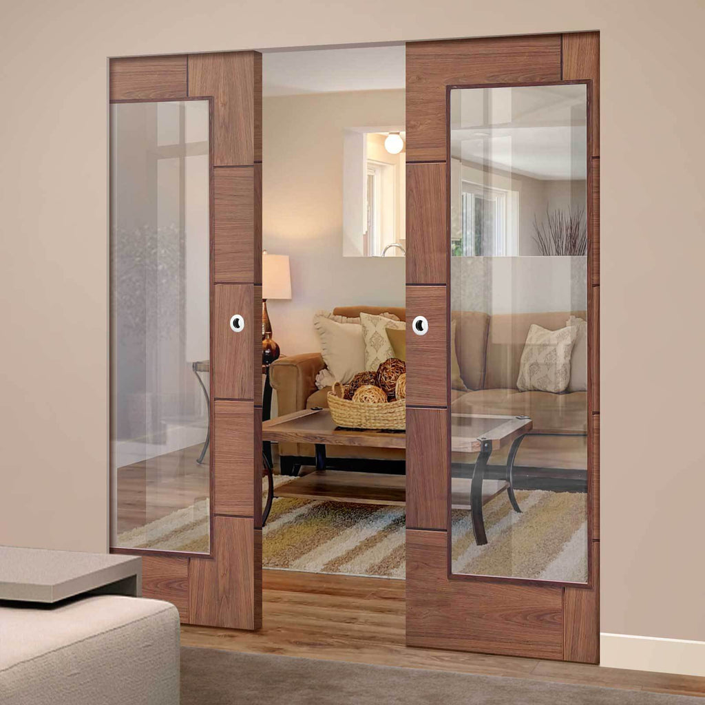 Bespoke Ravenna Walnut Glazed Double Frameless Pocket Door - Prefinished