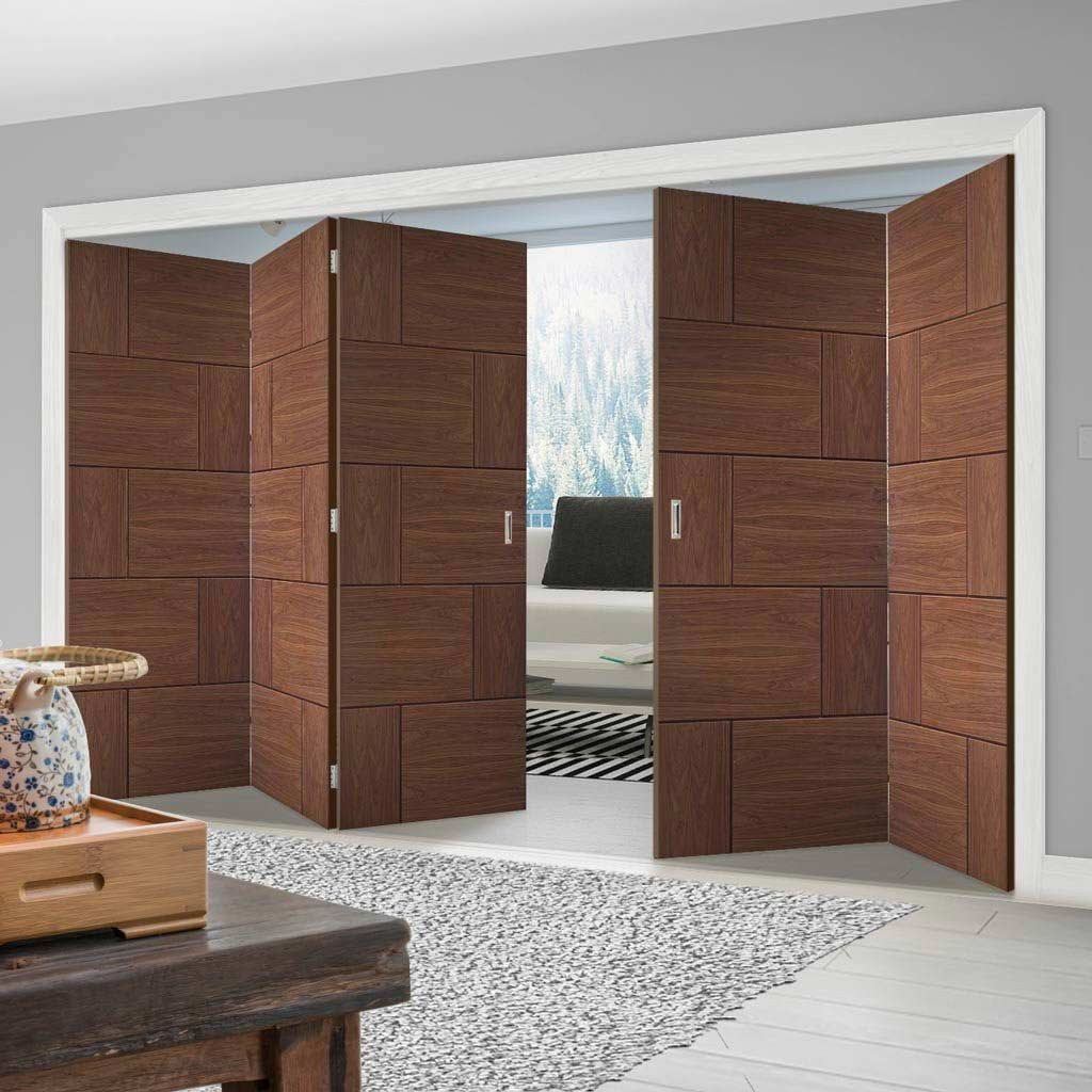 Bespoke Thrufold Ravenna Walnut Flush Folding 3+2 Door - Prefinished