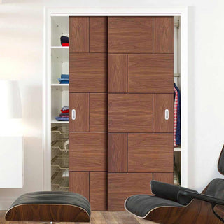 Image: Two Sliding Wardrobe Doors & Frame Kit - Ravenna Walnut Flush Door - Prefinished