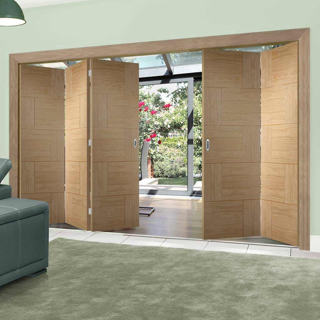Bespoke Thrufold Ravenna Oak Flush Folding 3+2 Door