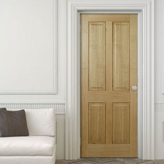 Image: Regency 4 Panel Oak Fire Door without raised mouldings is 1/2 Hour Fire Rated