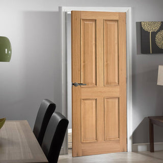 Image: Oak Fire Door, Regency 4 Panel - Raised Mouldings - 1/2 Hour Fire Rated