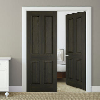 Image: Regency 4 Panel Smoked Oak Door Pair - 30 Minute Fire Rated - Prefinished