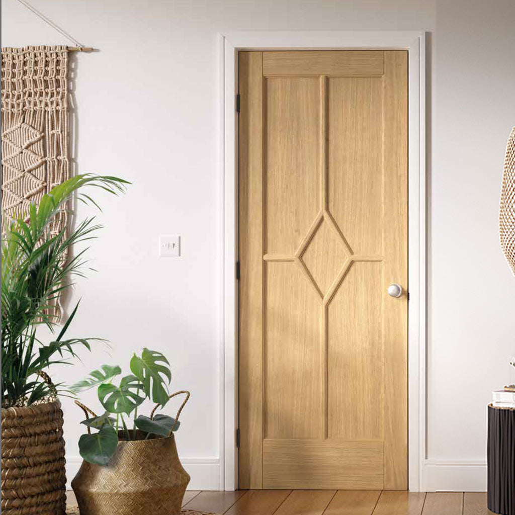 Reims Diamond 5 Panel Oak Door - Prefinished