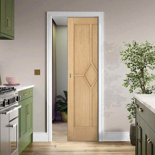 Image: Reims Diamond 5 Panel Oak Single Evokit Pocket Door - Prefinished