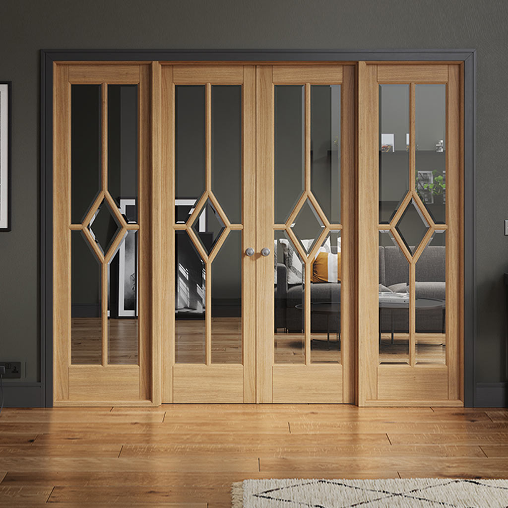W8 Reims Room Divider Door & Frame Kit - Bevelled Clear Glass - Prefinished Oak - 2031x2478mm Wide