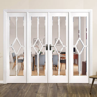 Image: W8 Reims Room Divider - Clear Bevelled Glass - White Primed