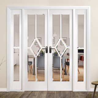 Image: W6 Reims Room Divider Door & Frame Kit - Bevelled Clear Glass - White Primed - 2031x1904mm Wide