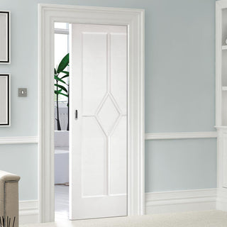 Image: Reims Diamond 5 Panel Single Evokit Pocket Door - White Primed