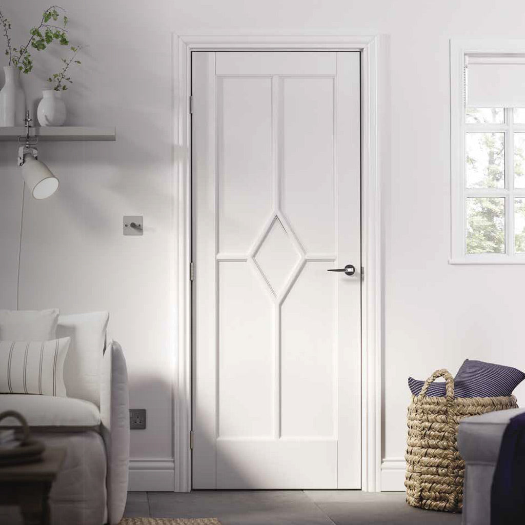 White Fire Door, Reims Diamond 5 Panel Door - 1/2 Hour Rated - White Primed