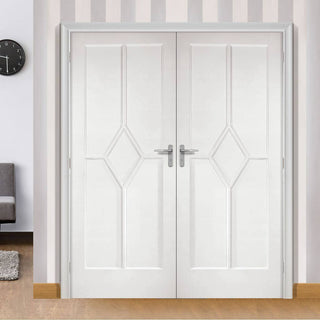 Image: LPD Joinery Reims Diamond 5 Panel Fire Door Pair - 1/2 Hour Fire Rated - White Primed