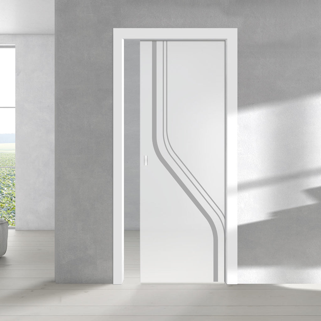 Reston 8mm Obscure Glass - Obscure Printed Design - Single Evokit Glass Pocket Door