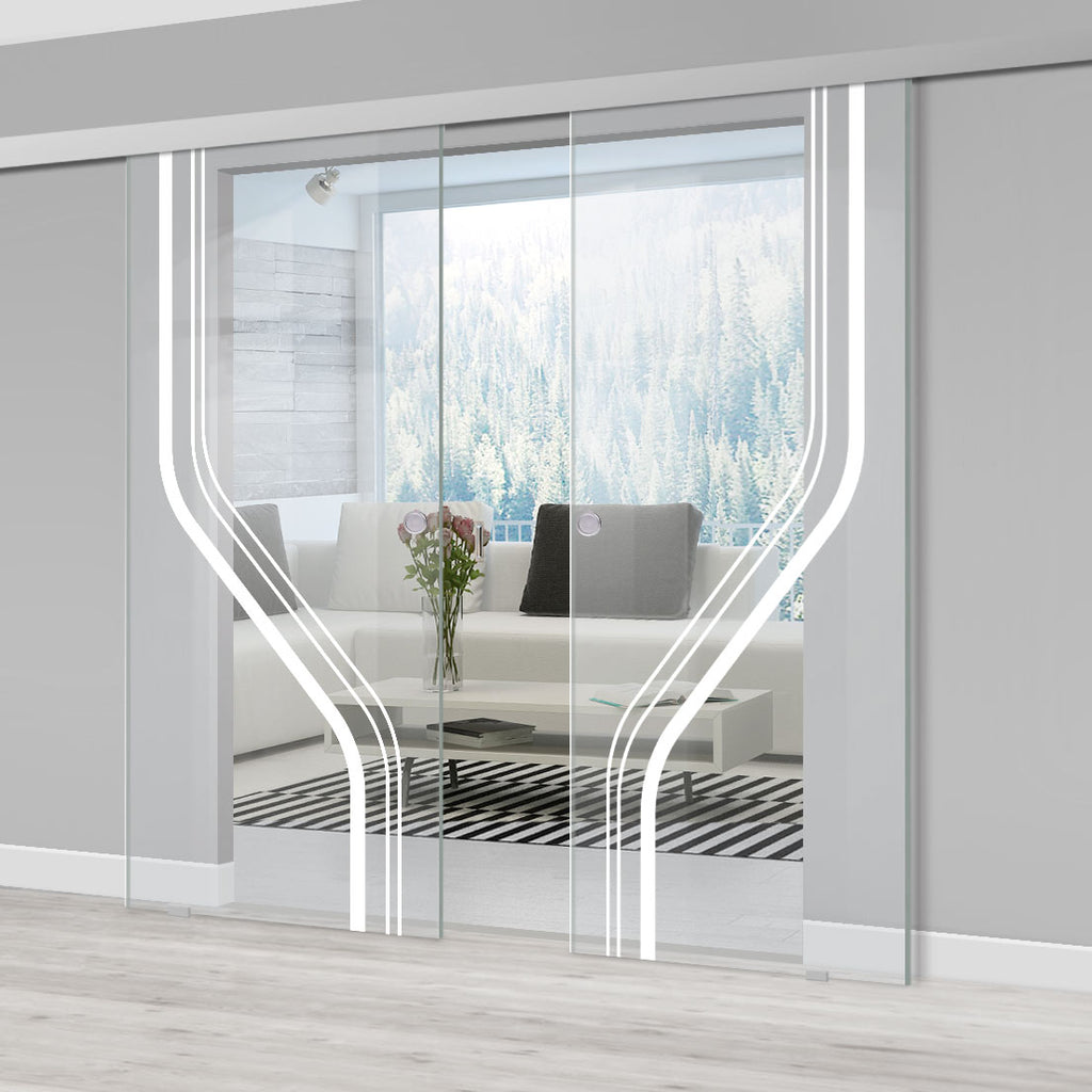 Double Glass Sliding Door - Reston 8mm Clear Glass - Obscure Printed Design - Planeo 60 Pro Kit