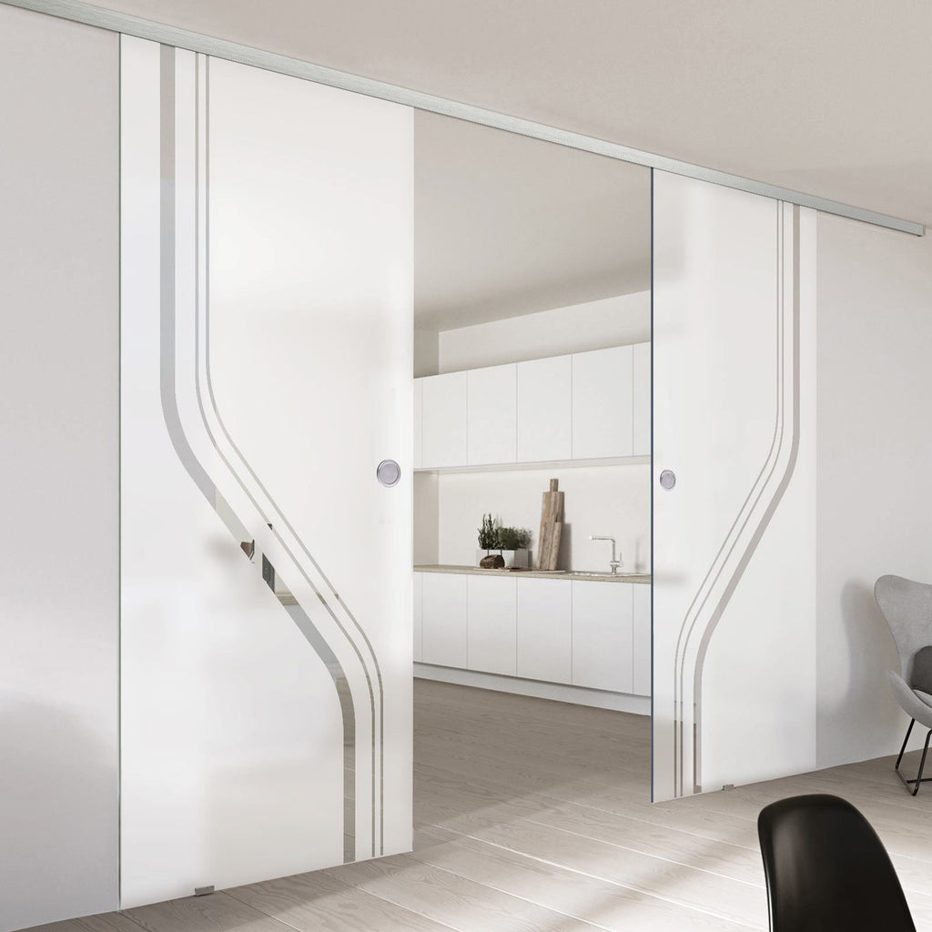 Double Glass Sliding Door - Reston 8mm Obscure Glass - Clear Printed Design - Planeo 60 Pro Kit