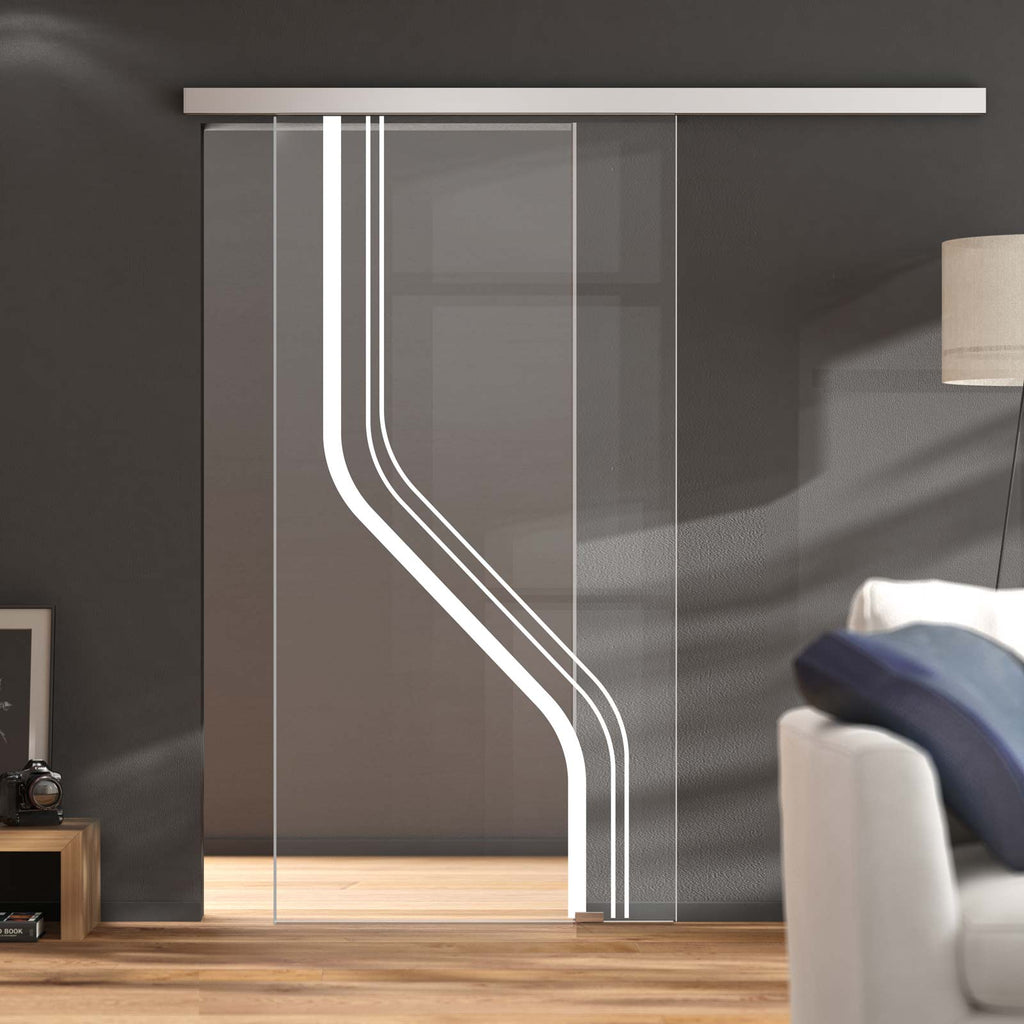 Single Glass Sliding Door - Reston 8mm Clear Glass - Obscure Printed Design - Planeo 60 Pro Kit