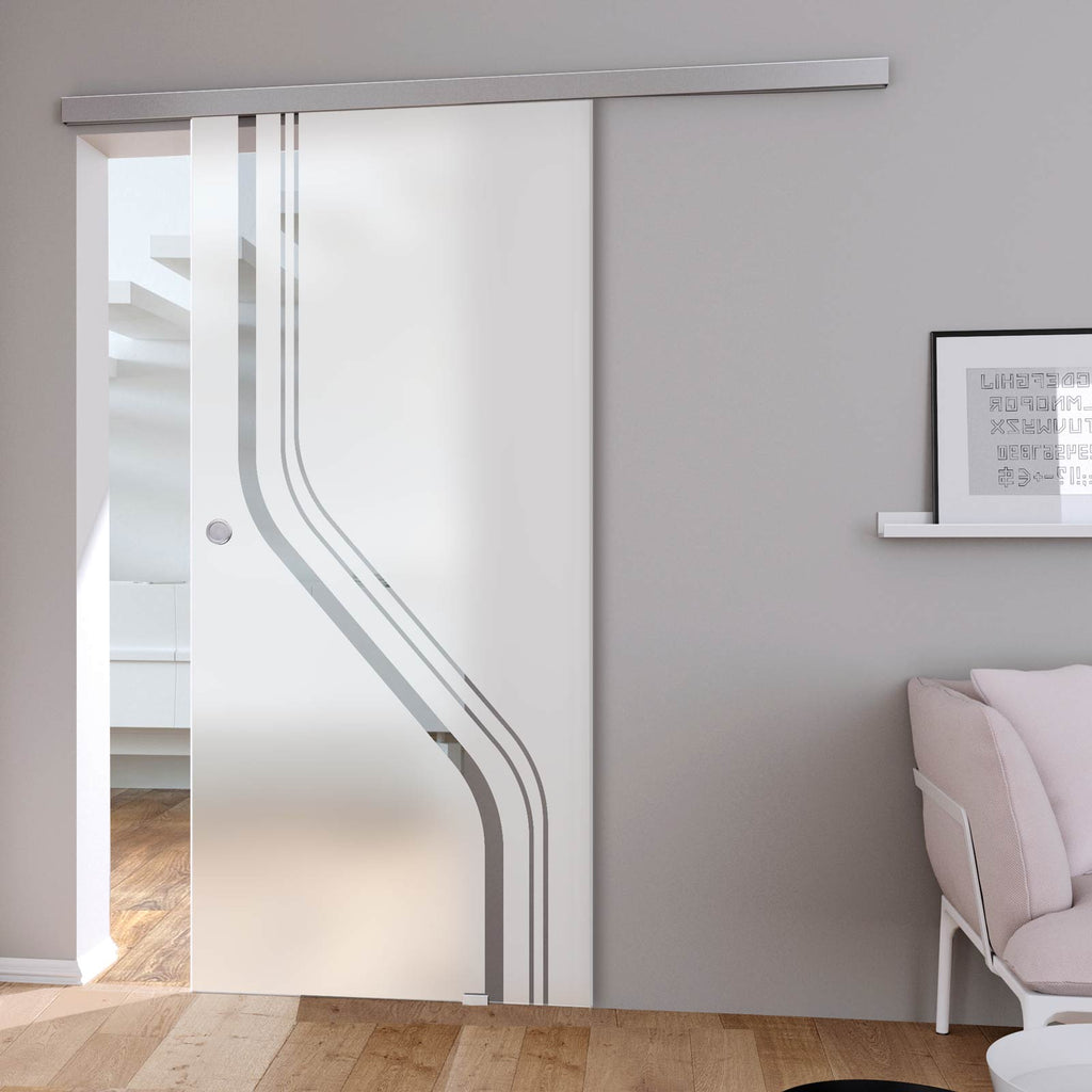 Single Glass Sliding Door - Reston 8mm Obscure Glass - Clear Printed Design - Planeo 60 Pro Kit