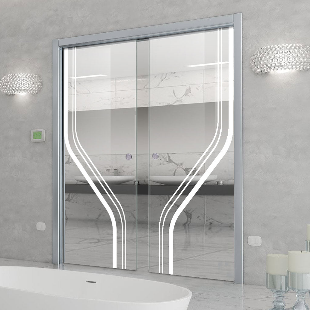 Reston 8mm Clear Glass - Obscure Printed Design - Double Evokit Pocket Door