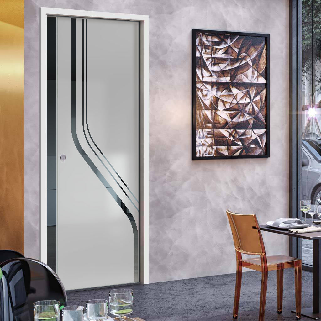 Reston 8mm Obscure Glass - Clear Printed Design - Single Evokit Glass Pocket Door