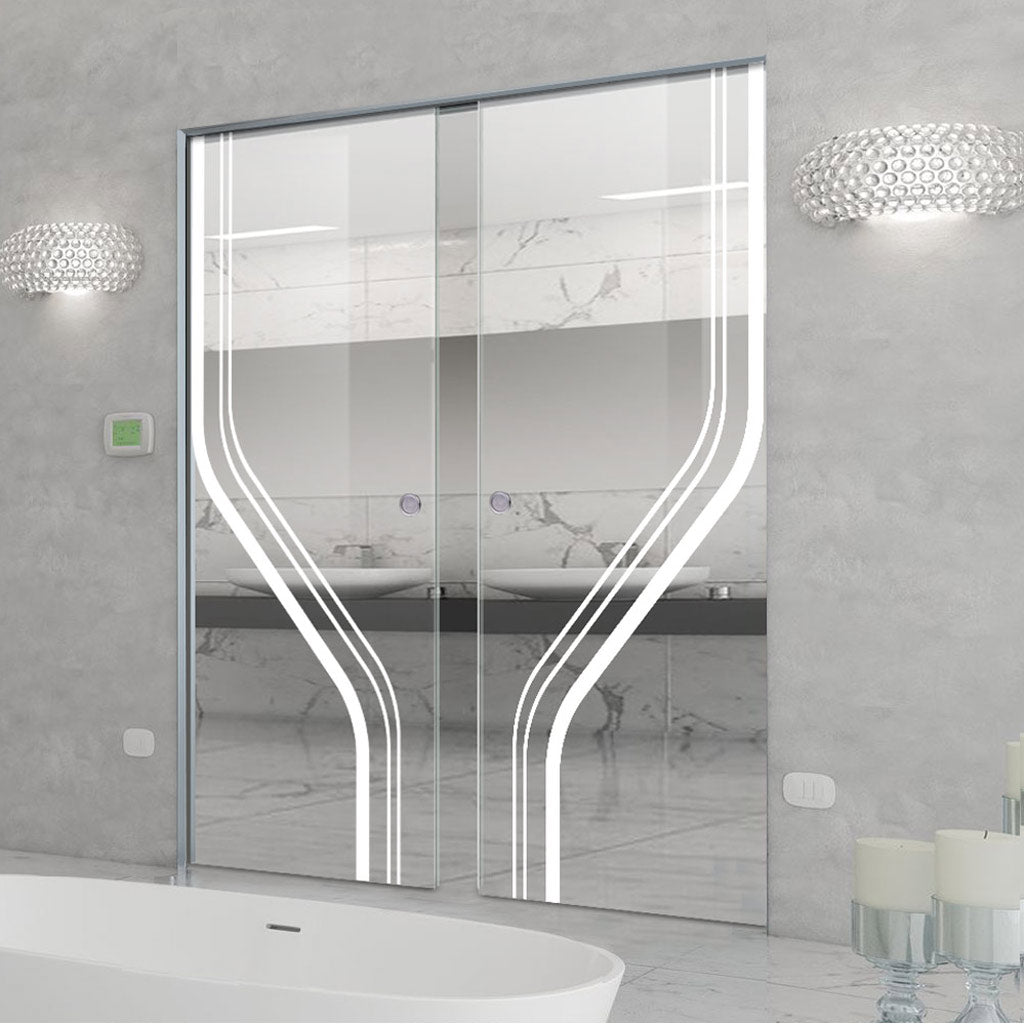 Reston 8mm Clear Glass - Obscure Printed Design - Double Absolute Pocket Door