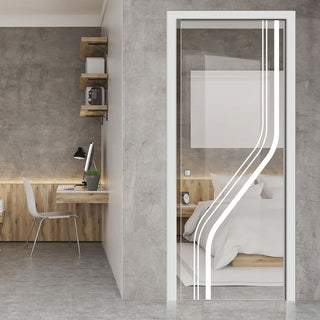 Image: Reston 8mm Clear Glass - Obscure Printed Design - Single Evokit Glass Pocket Door