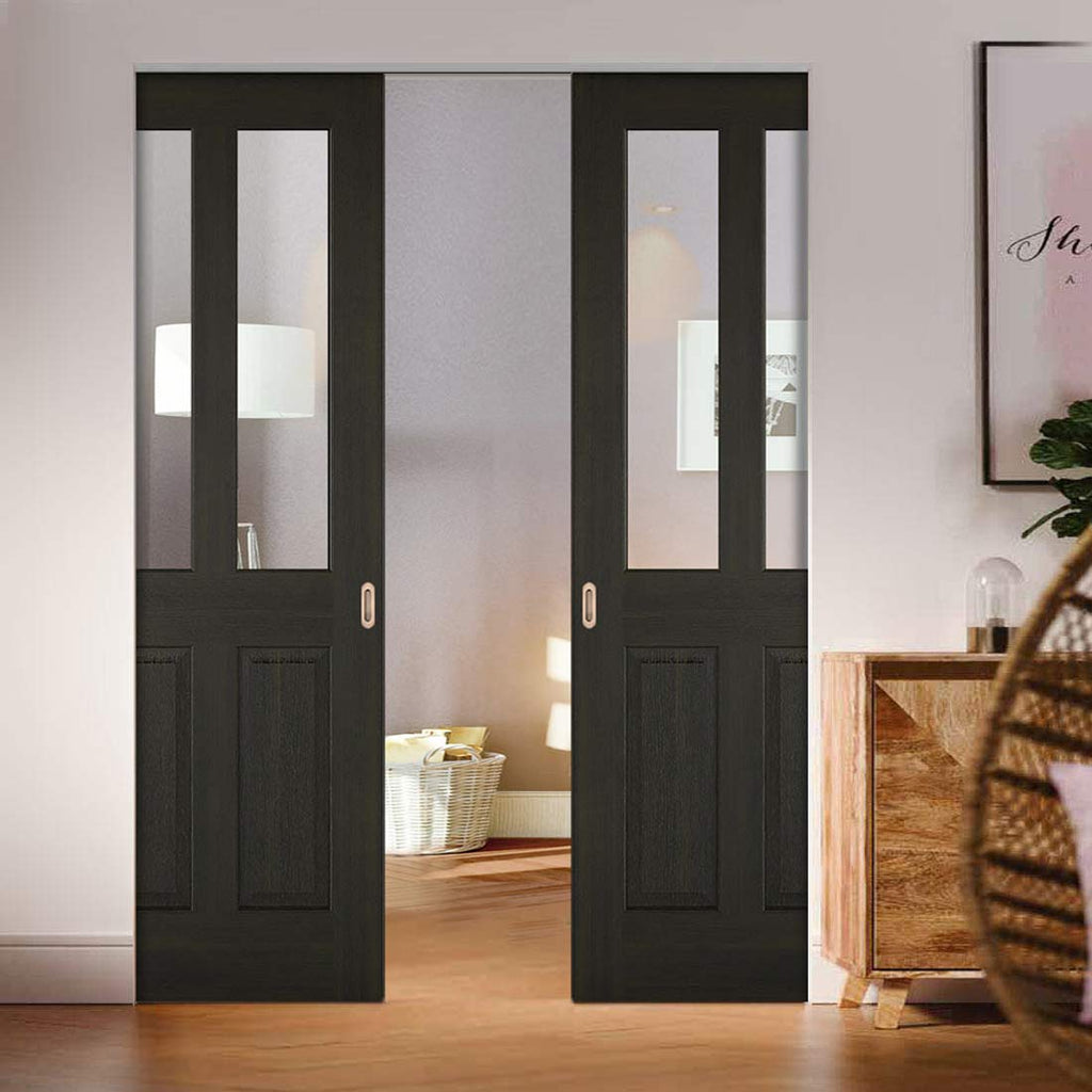 Richmond Smoked Oak Absolute Evokit Double Pocket Door - Clear Glass - Prefinished