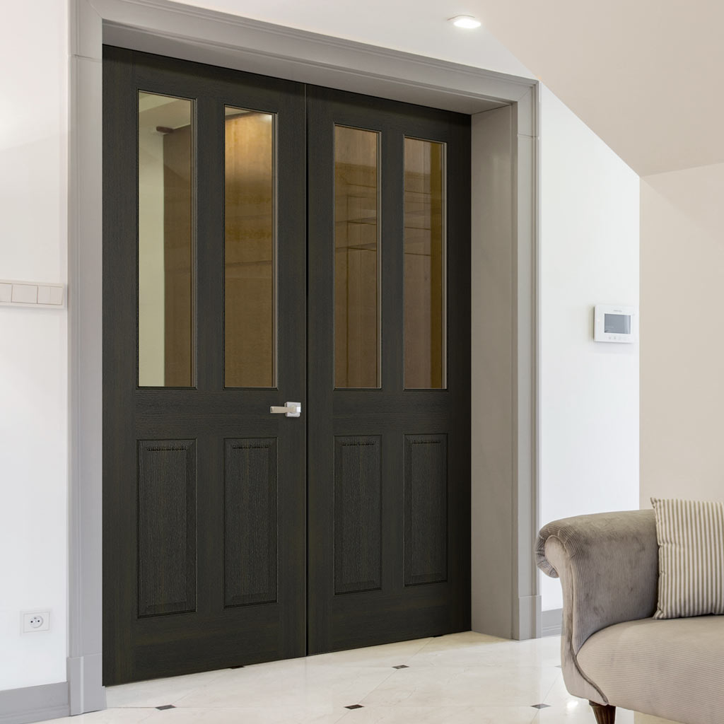 Richmond Smoked Oak Door Pair - Clear Glass - Prefinished