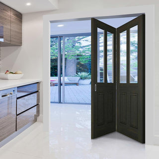 Image: Two Folding Doors & Frame Kit - Richmond Smoked Oak 2+0 - Clear Glass - Prefinished