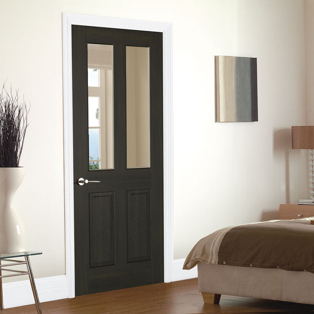 Richmond Smoked Oak door - Clear Glass - Prefinished