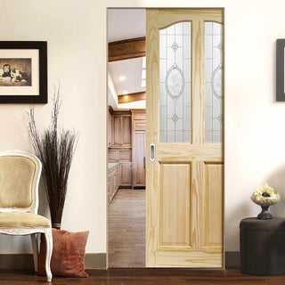 Image: Rio Clear Pine Absolute Evokit Pocket Door - Clear Etched Crystal Rose Glass