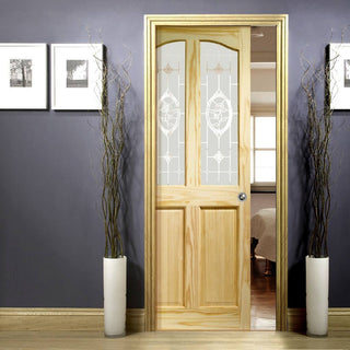 Image: Rio Clear Pine Single Evokit Pocket Door - Clear Etched Crystal Rose Glass
