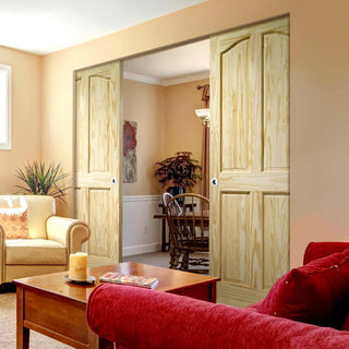 Image: Rio 4 Panel Clear Pine Absolute Evokit Double Pocket Door