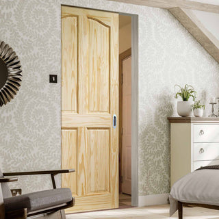 Image: Rio 4 Panel Clear Pine Absolute Evokit Pocket Door