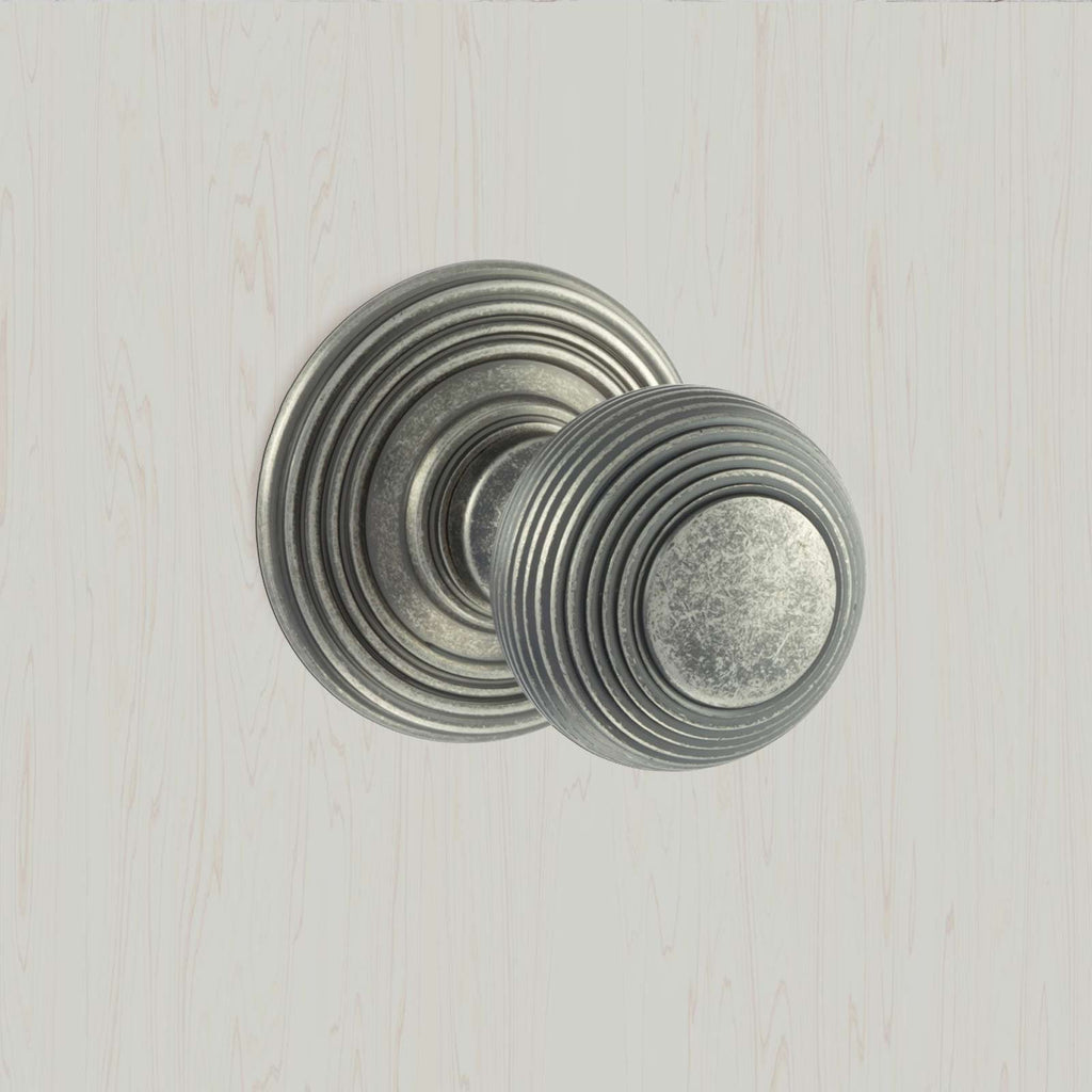 Ripon Reeded Old English Mortice Knob - Distressed Silver