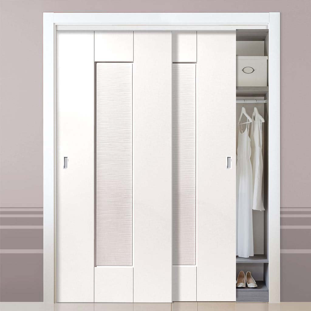 Two Sliding Wardrobe Doors & Frame Kit - Axis Ripple White Primed Door