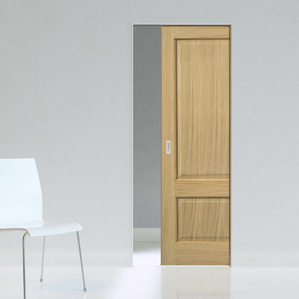 Oak Trent 2 Panel Absolute Evokit Pocket Door - Prefinished