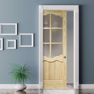 Image: Riviera 6L Clear Pine Single Evokit Pocket Door - Clear Glass