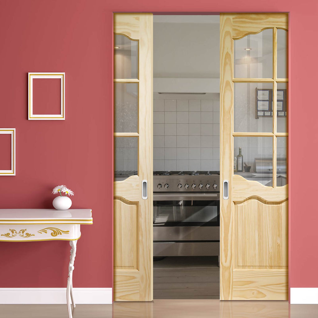 Riviera 6L Clear Pine Absolute Evokit Double Pocket Door - Clear Glass