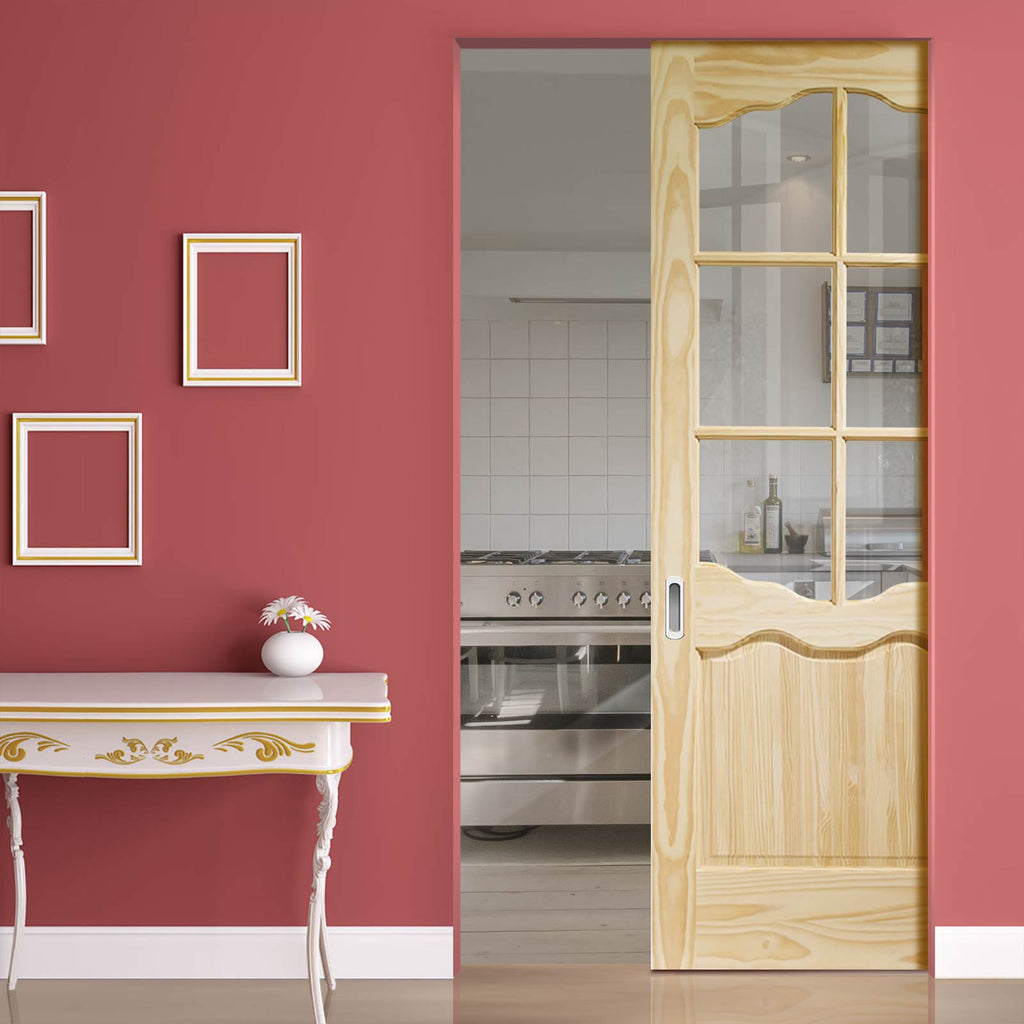 Riviera 6 Pane Clear Pine Absolute Evokit Pocket Door - Clear Glass