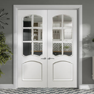 Image: Riviera White Door Pair - Clear Bevelled Glass - Prefinished