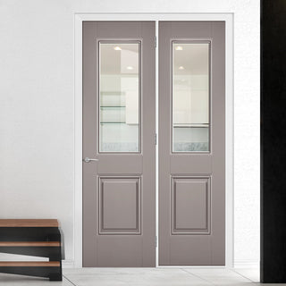 Image: ThruEasi Room Divider - Arnhem Grey Primed Clear Glass Unfinished Door with Single Side - 2018mm High - Multiple Widths