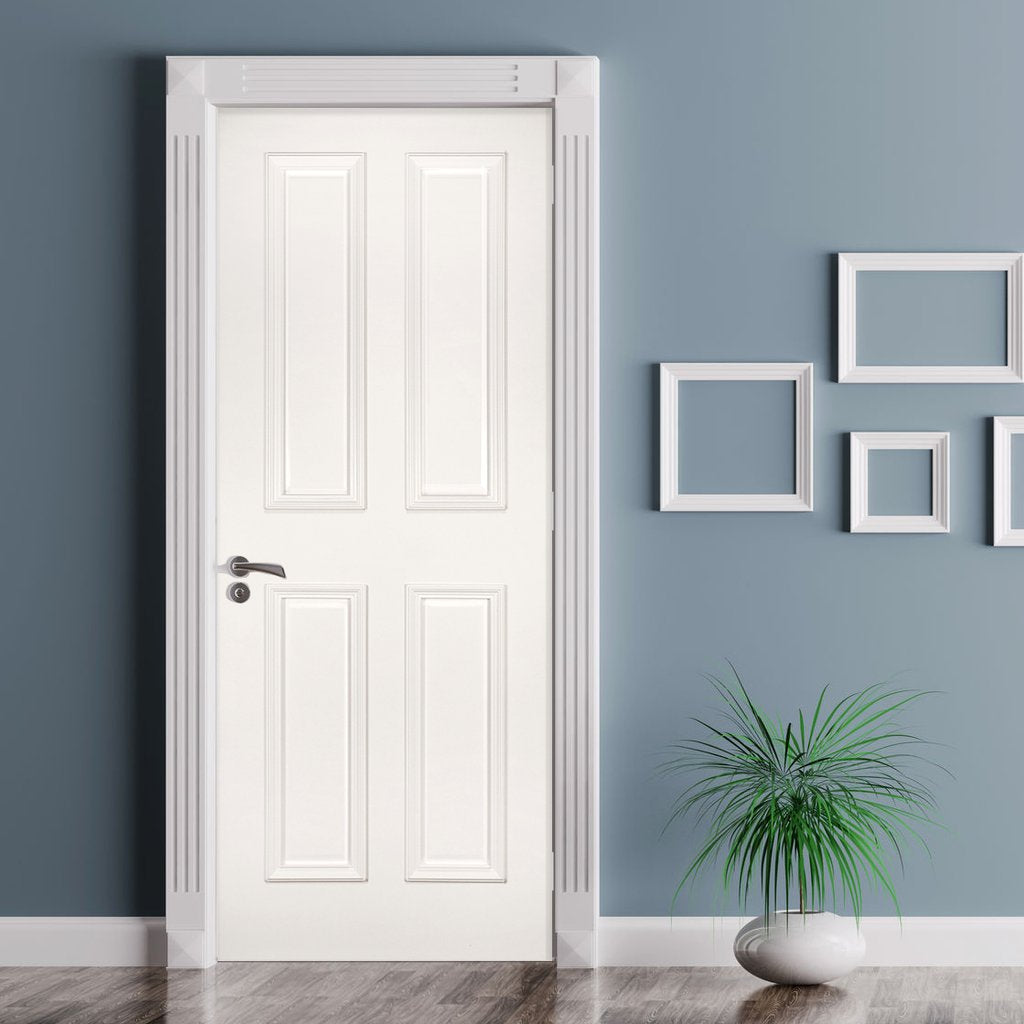 Rochester White Primed Fire Door - Raised Mouldings - 1/2 Hour Fire Rated