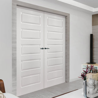 Image: JELD-WEN INTERNAL Rockport Middleweight Smooth Door Pair - Undercoated - Moulded Range